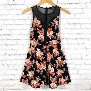 For Love & Lemons Floral Mesh Mini Dress
